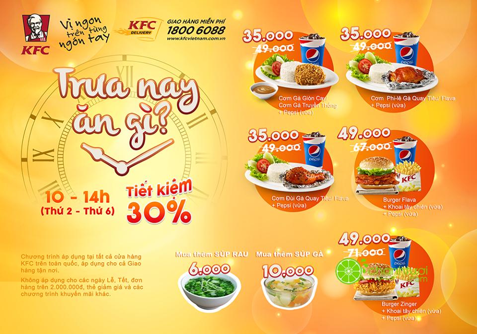 """35K Cho 1 Combo """"Trưa nay ăn gì?"""" Tại KFC - Cơm gà KFC giá hạt dẻ"""